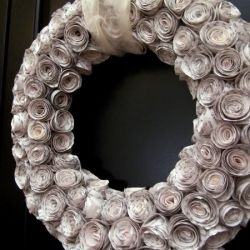 Beautiful tutorial for a paper rose wreath made from book pages.