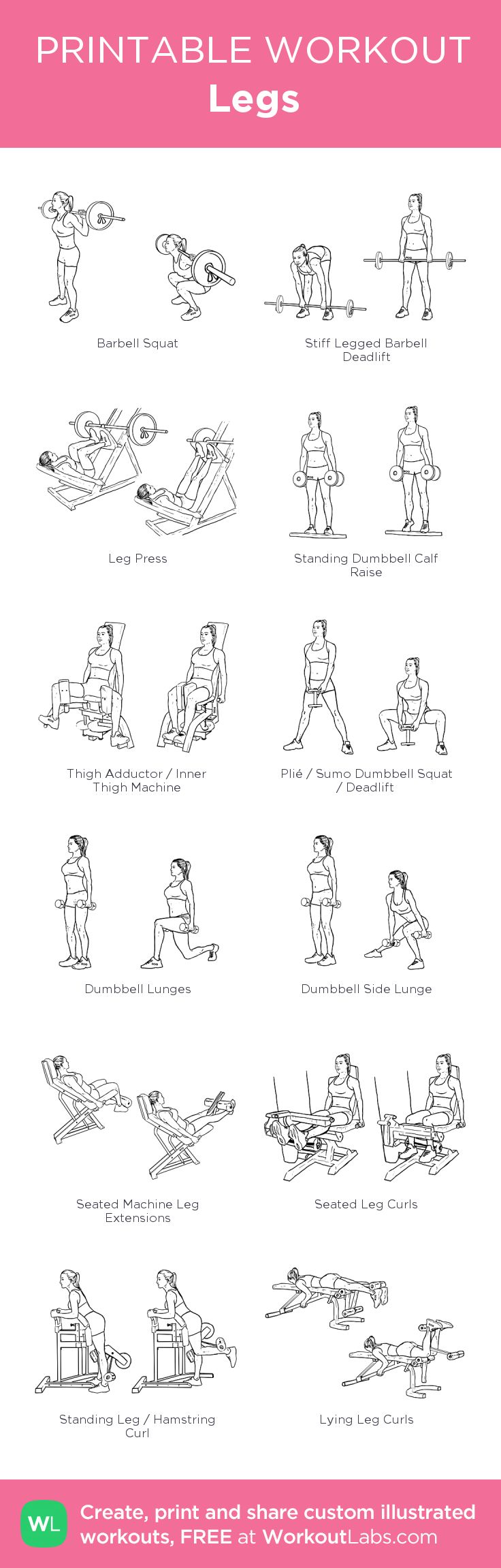Legs Day: Customized printable workout