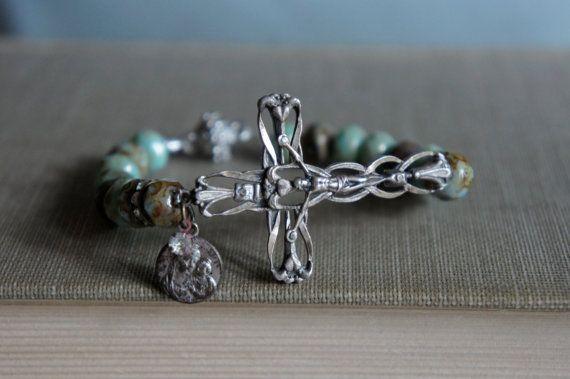 Vintage assemblage bracelet sterling side ways cross ...