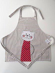 Iné oblečenie - Detská zástera s mačičkou - 4799188_