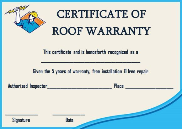 Roofing Warranty Certificate Templates Word Certificate Templates Certificate Of Completion Template Templates