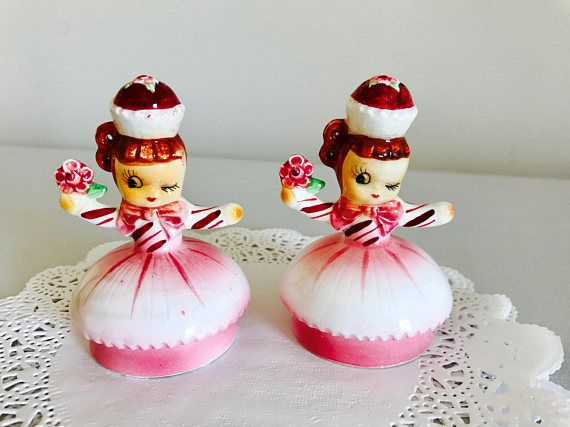 Vintage Cupcake Girls Salt and Pepper Christmas Girls Pink