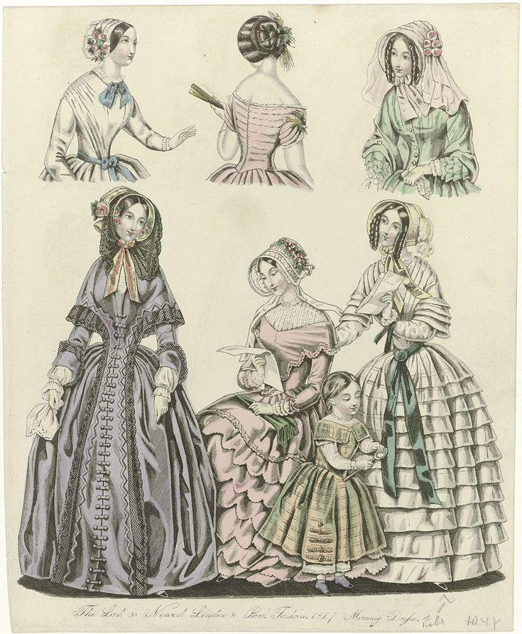 Anonymous   The World of Fashion, 1847 : The Last & Newest..., Anonymous, 1847   De laatste en nieuwste modes van 1847 uit Londen en Parijs. Ochtendjaponnen met lange mouwen en geplooide ondermouwen. Wijde rokken met geplooide stroken. Accessoires: luifelhoeden met bloemen en/of sluier, zakdoek, waaier, handschoenen, opvouwbare parasol(?), ceintuur. Kinderkleding: geruite japon en bloomers. Prent uit het modetijdschrift The World of Fashion (1824-1891).