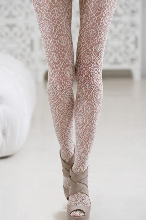 White patterned #tights