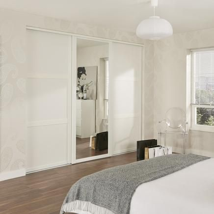 Shaker Panel Door White with Shaker Mirror Door White - hide it all behind fitted wardrobes