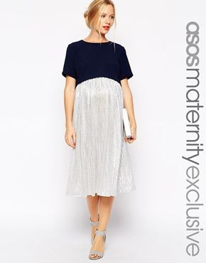 Enlarge ASOS Maternity Exclusive Dress with Double Layer and Metallic Skirt