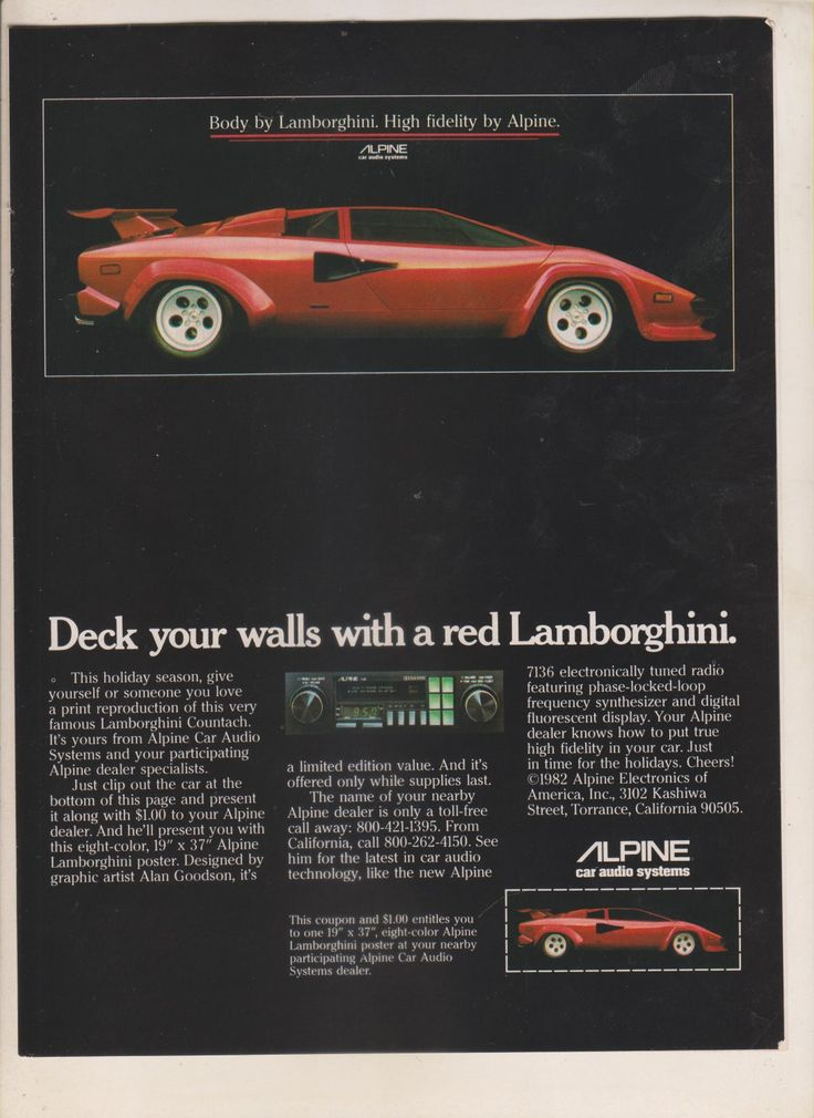 1982 PRINT AD: Alpine Car Audio Systems 7136 Radio Red Lamborghini Countach