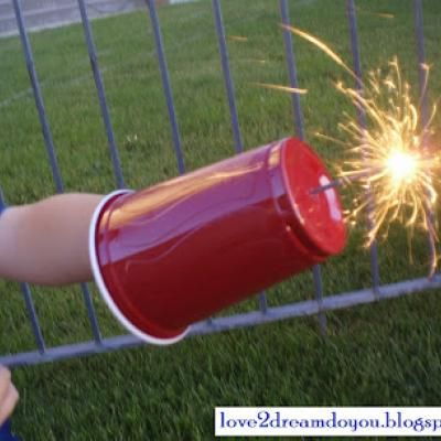 4th of July Sparkler Shield {Fireworks}  -- Makes sure no sparks land on the angels fingers or arms:) great idea for the smaller ones.