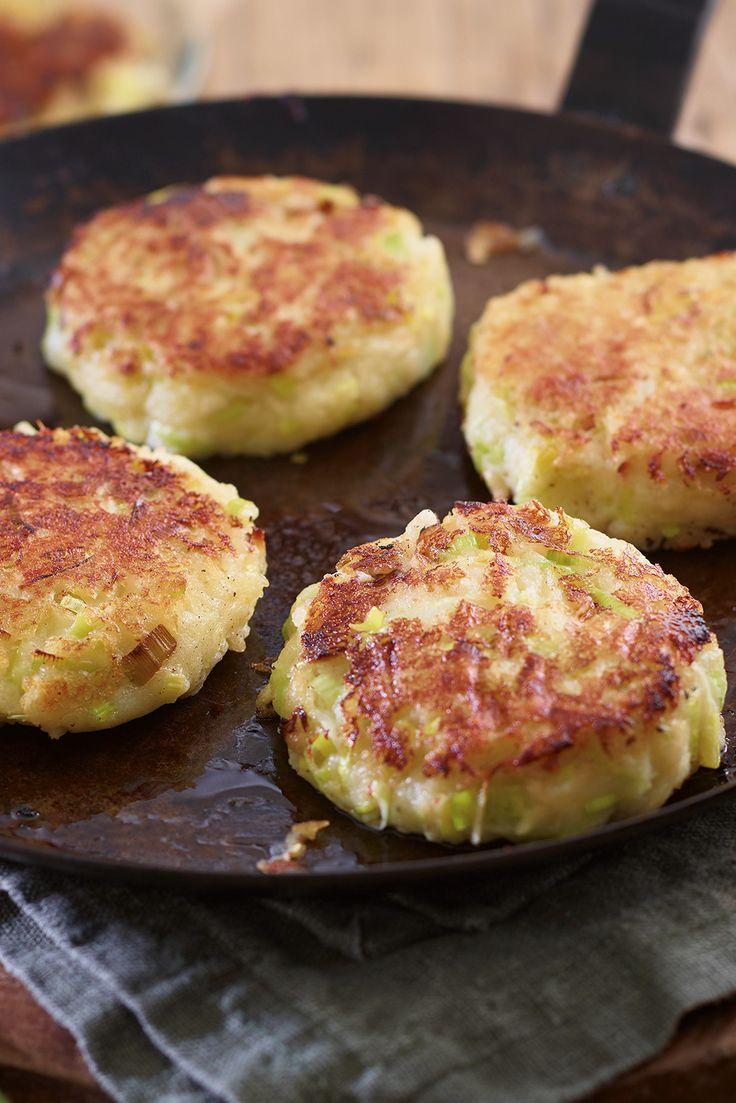 Irish potato cakes with leek and parsnip