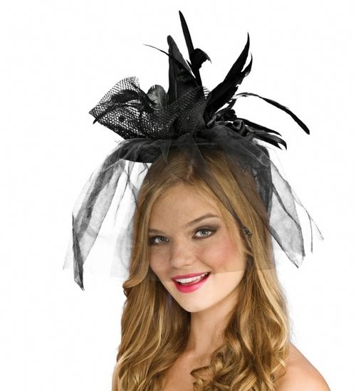 Mini Green Witch Hat with Feathers - This short brimmed witch hat is made from a silky material with iridescent feathers and a clear strap to hold it on, for extra magic, you can pin it in your hair. #witch #yyc #costume #hat #halloween