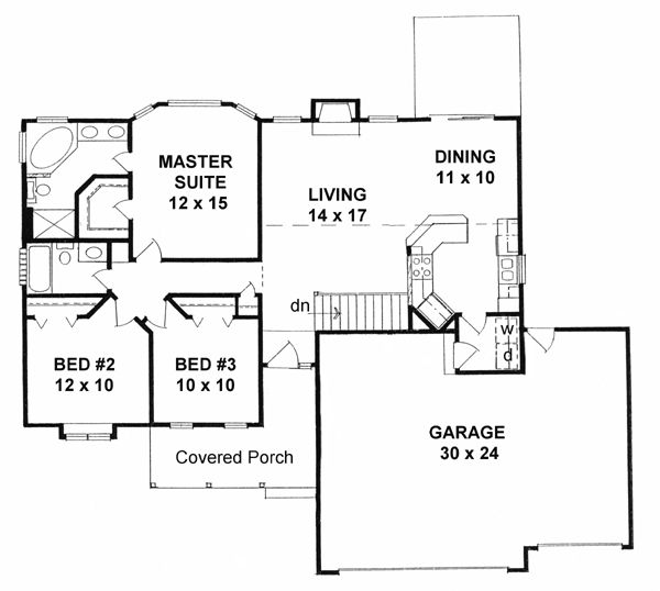 Traditional House Plan 62546 Level One