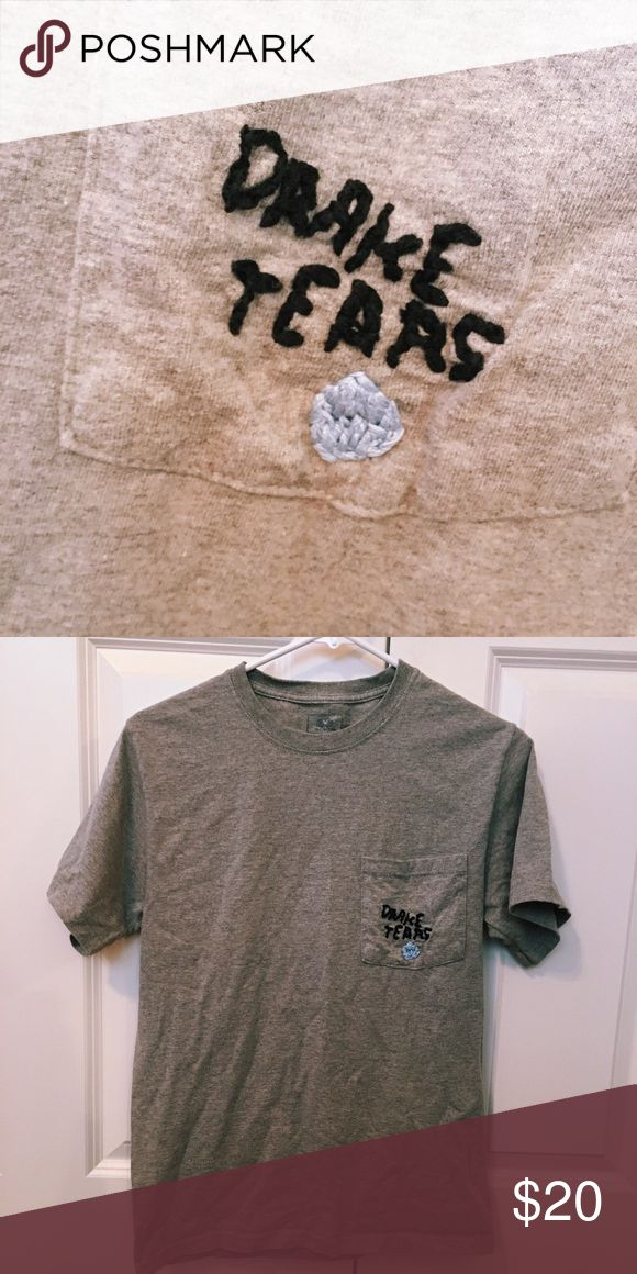 """""""Drake Tears"""" T-Shirt Embroidered/stitched Drake Tears T-Shirt bought from a shop on Etsy. Size small. ASOS Tops"""