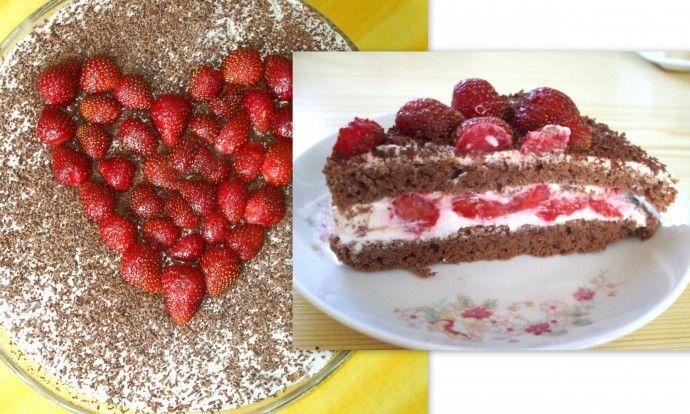 Tvarohovo-jahodová fit torta