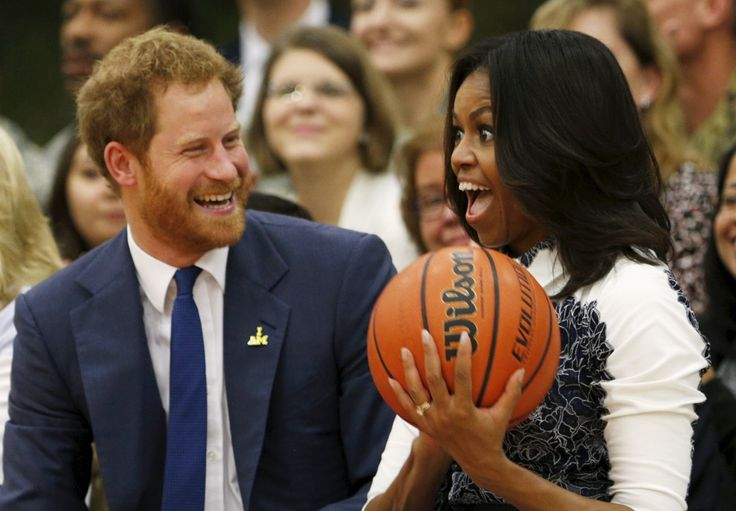 Prince Harry and Michelle Obama watch basketball – in pictures