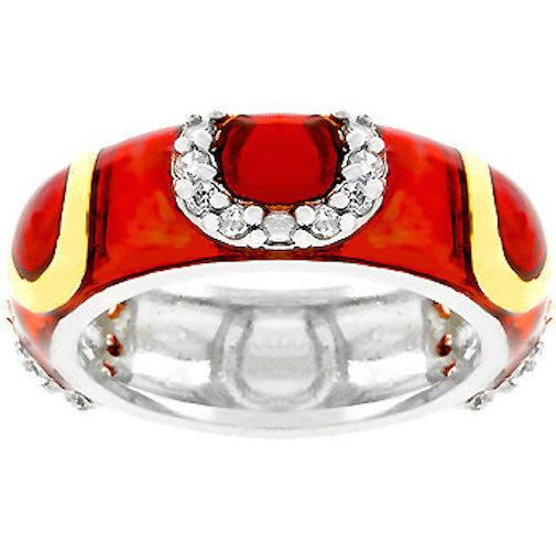 Silver Enamel Eternity Ring Band Red Cubic Zirconia Rhodium Plated Size 7 8 9 10 #Unbranded #Band