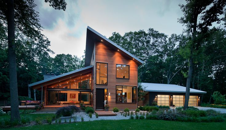 Trapezoidal Pigeon Creek Residence in Western Michigan by Lucid Architecture