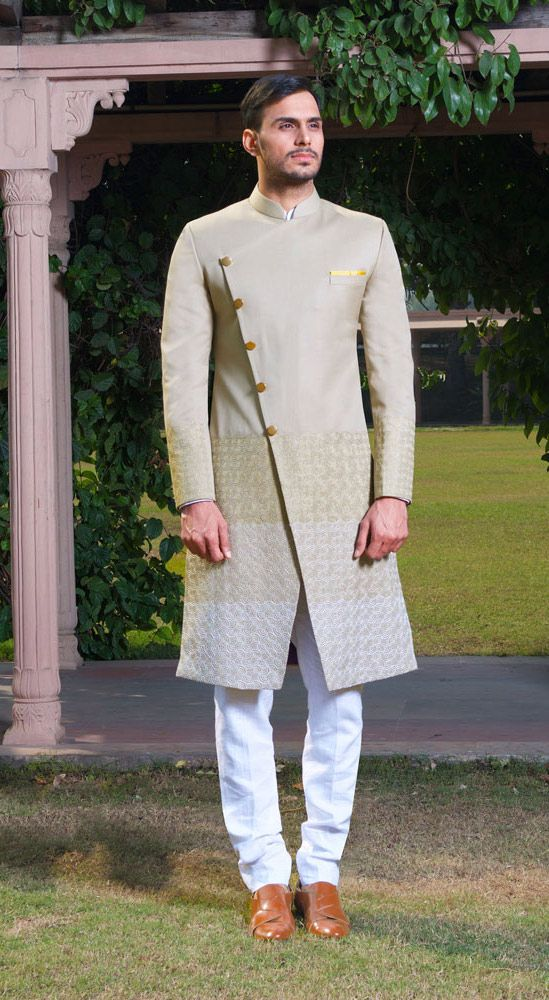 Taupe Spiral embroidered Sherwani & tan shoes