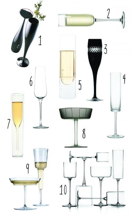 Modern champagne glasses.
