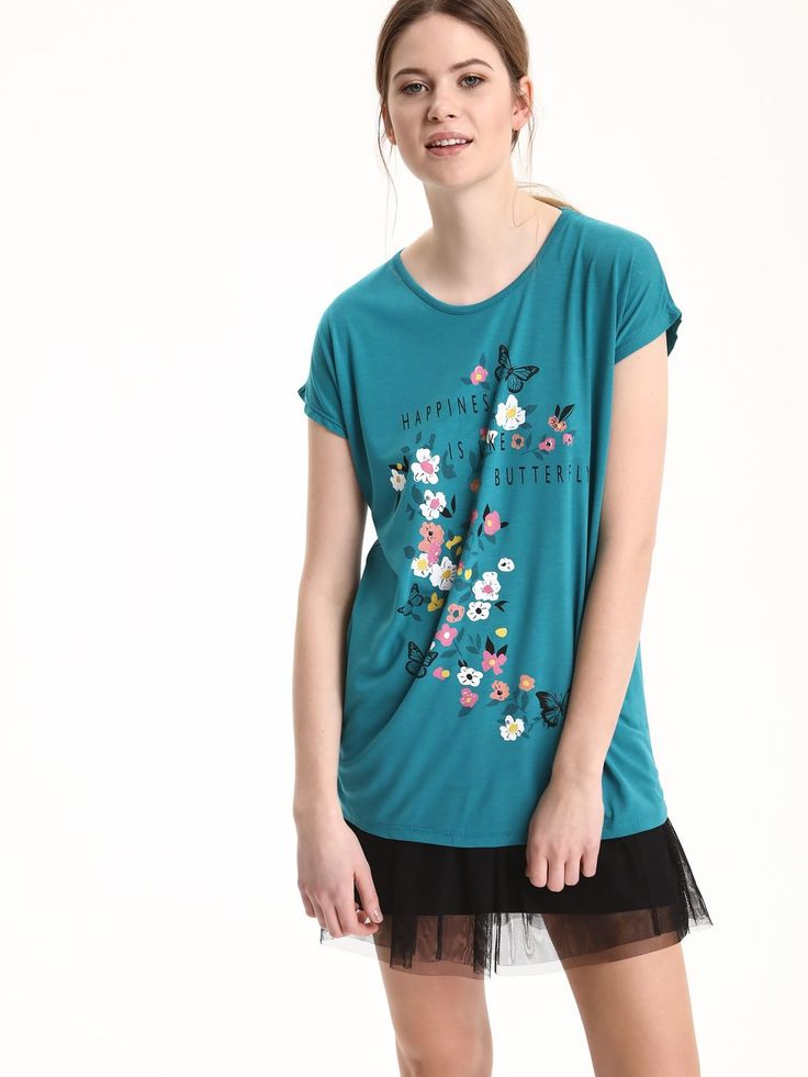Comanda online, Tricou casual Top Secret turcoaz cu imprimeu floral. Articole masurate, calitate garantata!