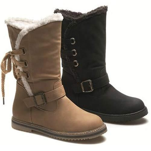LADIES BIKER BOOTS WOMEN GIRLS FLAT RIDING WINTER FUR MID CALF WESTERN SHOE SIZE | eBay