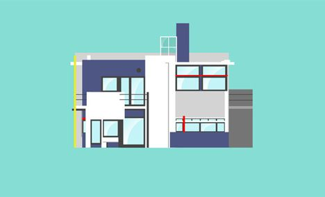 Iconic 20th century houses illustrated by Matteo Muci – Rietveld Schroder House by Gerrit Rietveld