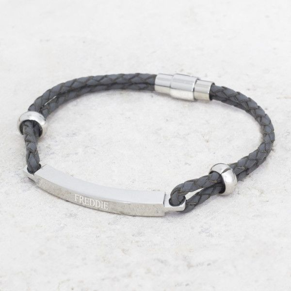 Men's personalised leather bracelet (various colours)