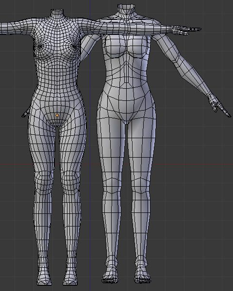 Blender Character Modeling 4 Of 10 : ボディポリゴンメッシュの比較 d max tutorials pinterest low
