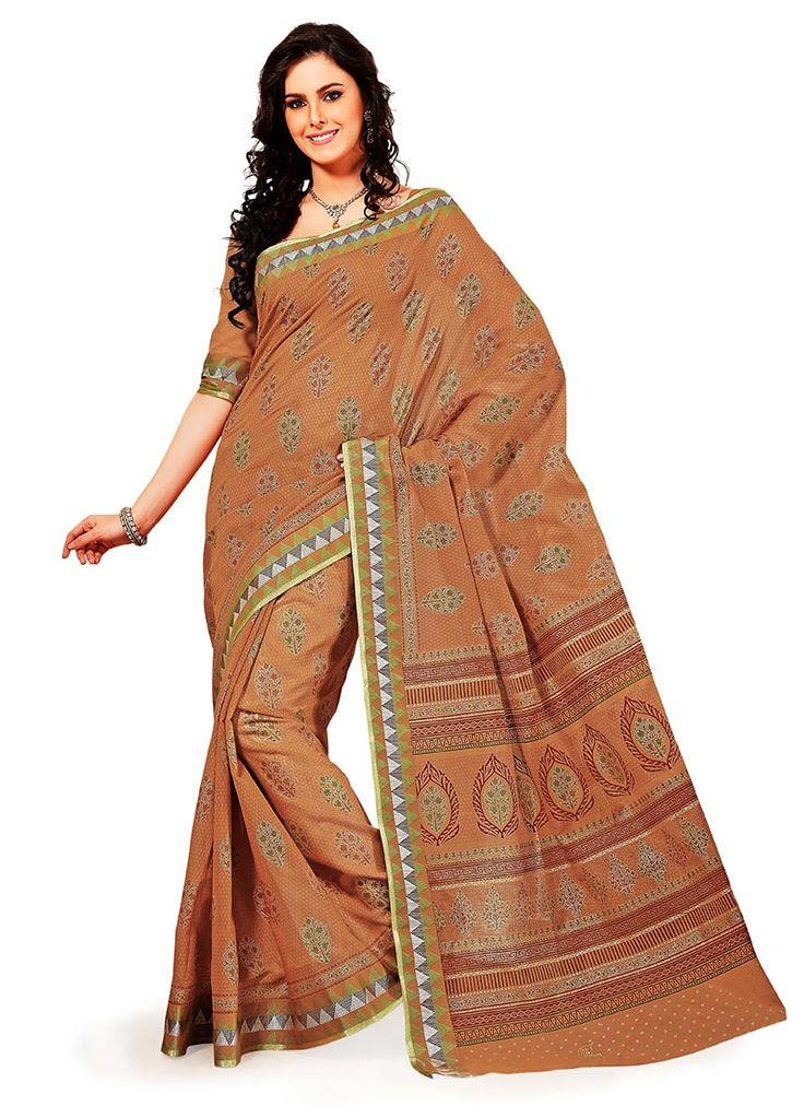 Mesmerizing Ochre Cotton Printed Saree