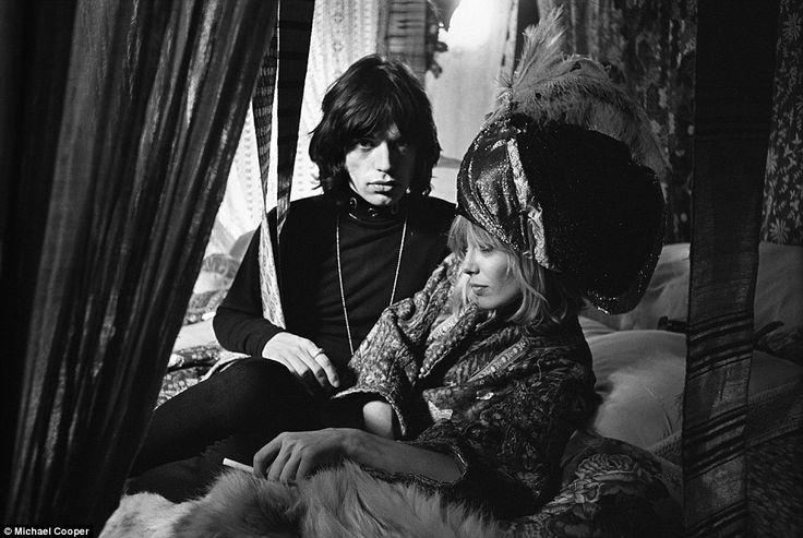 Band of brothers: Rare photos capturing extraordinary bond between Mick Jagger and Keith Richards at height of Rolling Stones' Sixties fame to go on display. An intimate shot shows Mick Jagger posing on a bed with Anita Pallenberg in 1968. The Italian-born actress, model, and fashion designer was the girlfriend of guitarist Brian Jones and later Keith Richards from 1967 to 1979, by whom she has two children