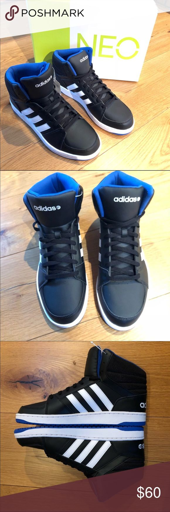 Men's Adidas Neo Hoops vs Mid black blue white NEW New in box Adidas Neo for Men   Features Textile/Synthetic Imported Rubber sole Synthetic leather upper Padded textile collar Woven adidas wordmark tongue label adidas wordmark on heel Thick rubber outsol
