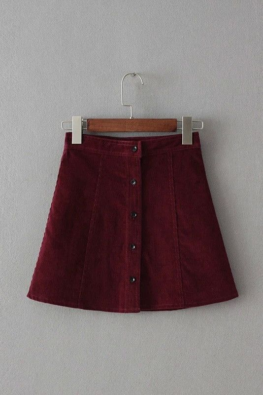 Corduroy Button Front Mini Skirt in Red #genuine-people #mini #skirt