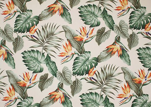 30ka'ena Bird of Paradise flowers, palm fronds, monstera, & ti leaves               on a cotton poplin vintage style apparel weight fabric.
