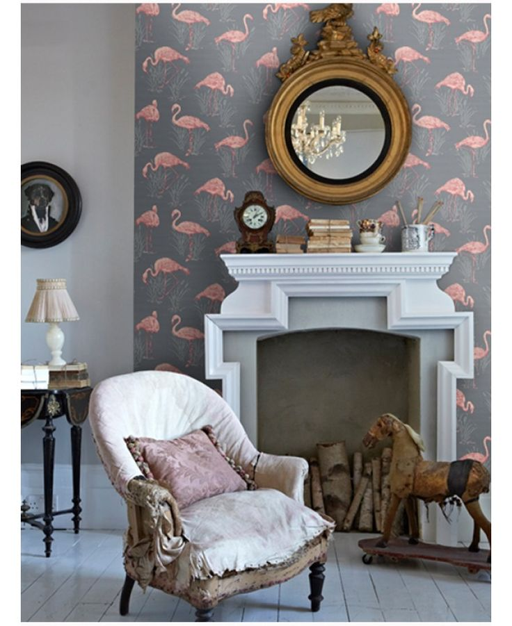 Vintage Lagoon Flamingo Wallpaper Grey/Coral - Arthouse 252603