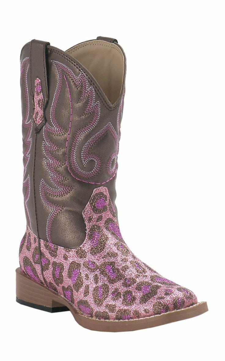Roper Toddler Pink Cheetah Glitter Square Toe Western