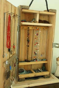 Jewelry Organizer from an old ammunition box. So cool!