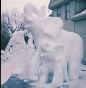 Elephant Snow Sculpture | RedGage: Ice Sculpture, Elephant Statues, Elephants Snow, Snow Sculptures