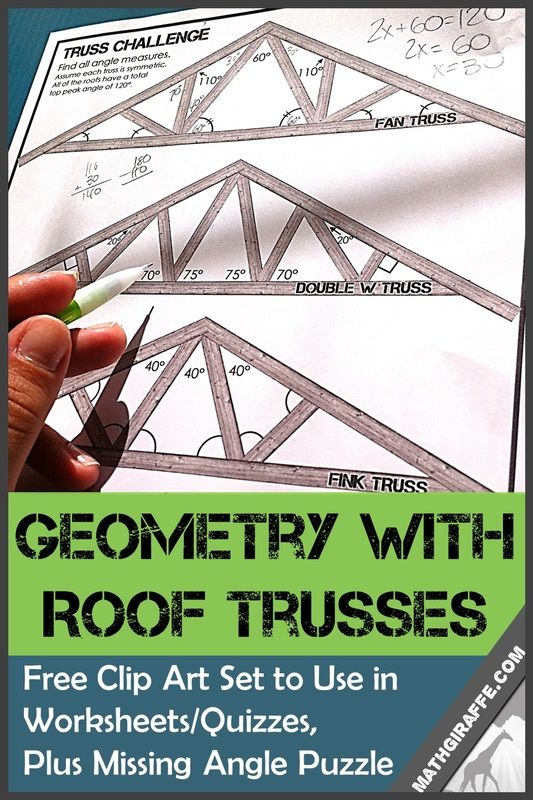 Free Clipart for Geometry Teachers to Place in any Quiz or Worksheet - Roof Trusses for Missing Angle Measures
