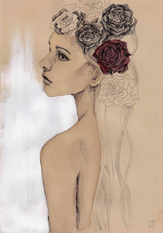 ink drawing and painting woman flower kraft by ftillustrations