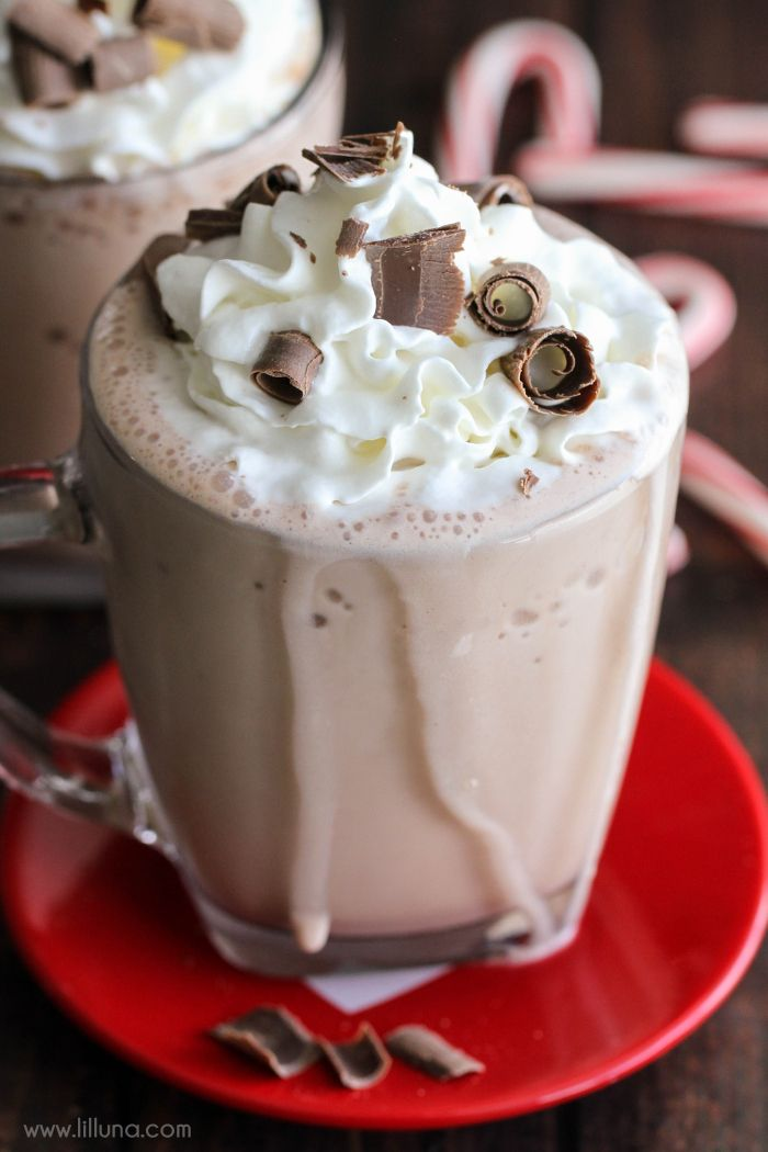 3-Ingredient Frozen Hot Chocolate - this drink takes a minute to make and is SO delicious!!