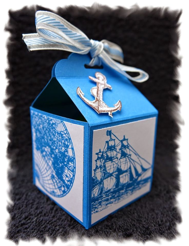 little box with scalloped tag topper punch and open sea set