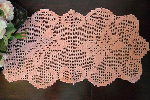 Coral Table Runner - Filet Crochet Centerpiece or Table Scarf with Butterflies    Measures: 22/11 Star Rating For This Listing - 4/5 - Super and