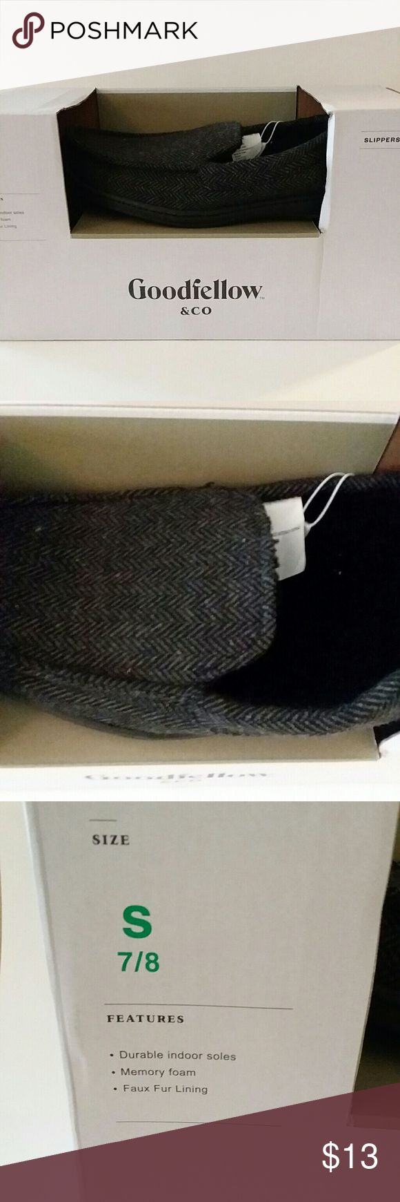 Goodfellow Mens Gray /Black Slip On Slippers New in Box Goodfellow Mens Black/Gray Slip On Slippers. They have durable indoor soles and memory foam in sole. Size: 7/8 Smoke FREE and Pet FREE environment Goodfellow Shoes Loafers & Slip-Ons