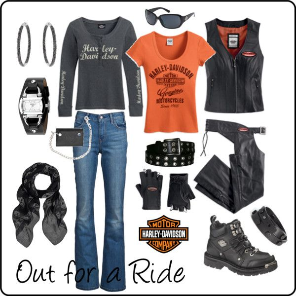 What a great Harley-Davidson inspired look for a ride! Look created by tropicalbrew.polyvore.com