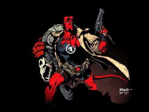 SD7666-Hellboy-Comics-Revolver-Demon-Art-24x18-Print-POSTER