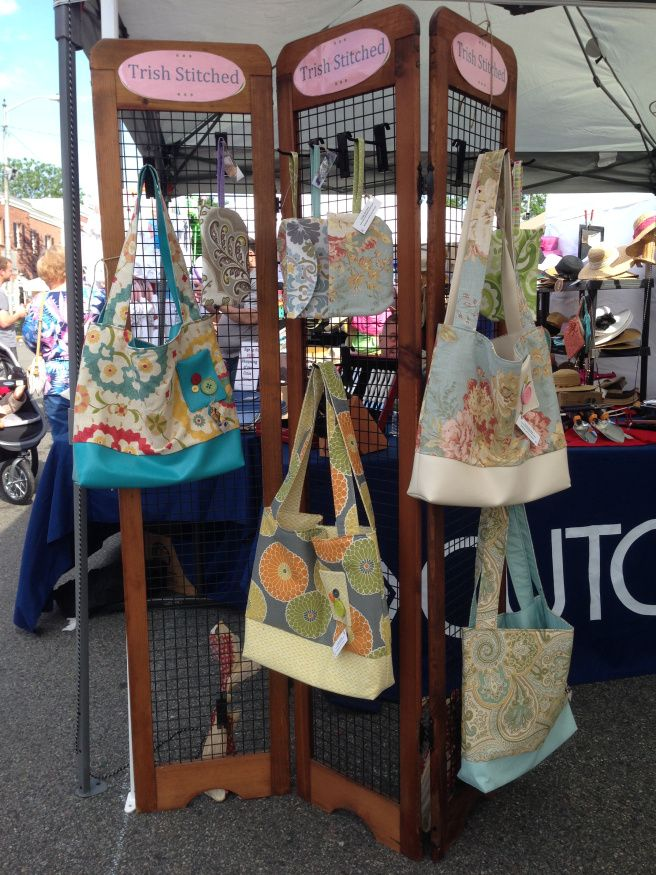 Tote bag display at craft show.   www.trishstitched.com