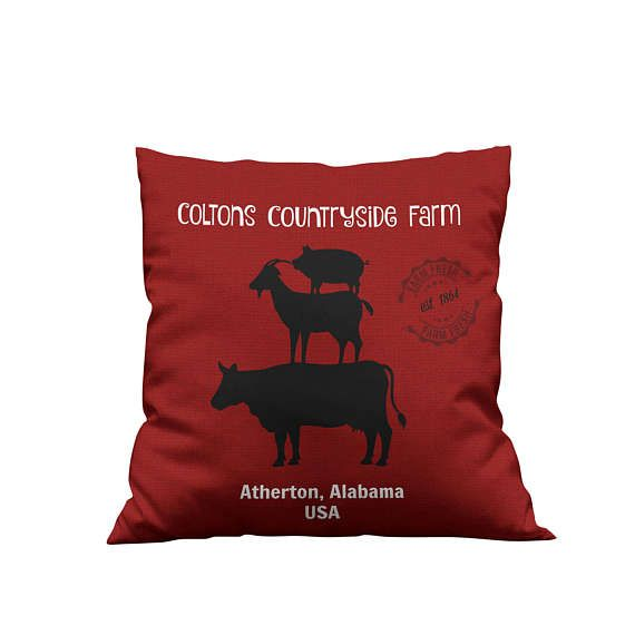 Personalized Custom Farm  Throw Pillow, Rustic, Primitive  , Vintage Red   Stacked Animals
