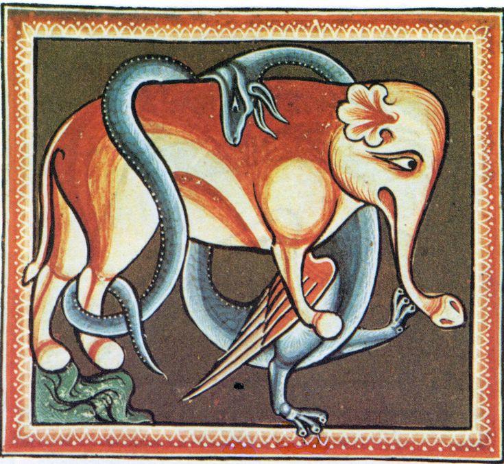 """BESTIARIO MEDIEVAL,ELEFANTE (la inocencia)""""No existe animal mayor.Copulan dándose la espalda.Gestación dura 2 años,paren 1 cría.Viven 300 años.Caminan a Oriente y llega al paraíso,allí donde crece la mandrágora,ambos la comen,quedan seducidos y hembra concibe inmediatamente.Ella pare,el macho la cuida de los dragones,sus enemigos naturales.Si son atrapados por éste, les chupará la sangre.Cuando luchan contra unicornios lo hacen de espaldas."""""""