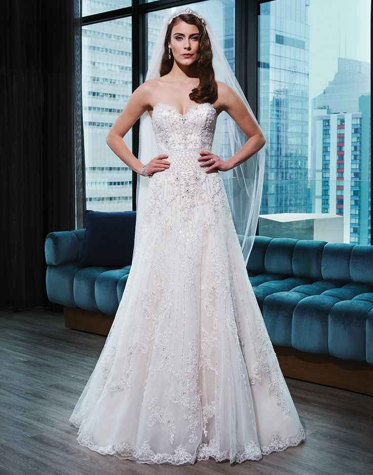 Justin Alexander signature wedding dresses style 9773 Tulle, corded lace, beaded lace A-line dress embellished by a sweetheart neckline. #bling #sparkle #strapless
