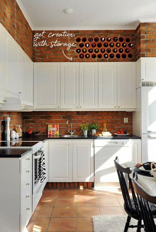 brick and white kitchen