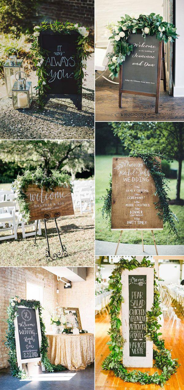 wedding signs ideas with greeenery garland decor